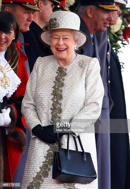 Queen Elizabeth II attends the Ceremonial Welcome for Mexican President Enrique Pena Nieto at Horse Guards Parade during day 1 of his state visit on...