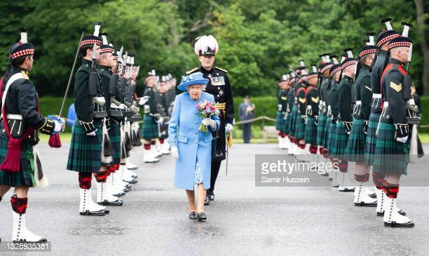 Queen Elizabeth II attends The Ceremony of the Keys at The Palace Of Holyroodhouse on June 28, 2021 in Edinburgh, Scotland. The Queen is visiting...