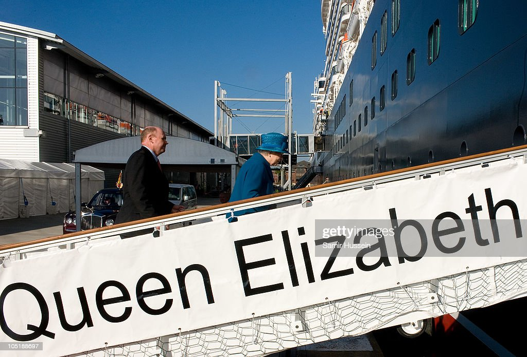 Queen Elizabeth II attends the ceremony to name Cunard's new cruise-liner Queen Elizabeth II in Southampton Docks on October 11, 2010 in Southampton, England.