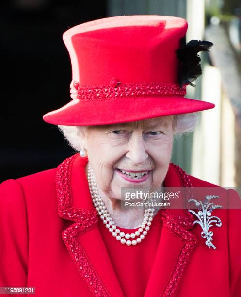 Queen Elizabeth II attends the Christmas Day Church service at Church of St Mary Magdalene on the Sandringham estate on December 25 2019 in King's...