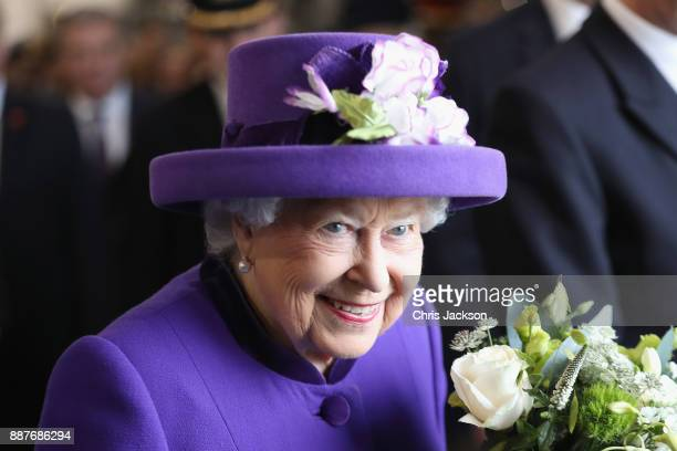 Queen Elizabeth II attends the Commissioning Ceremony of HMS Queen Elizabeth at HM Naval Base on December 7 2017 in Portsmouth England