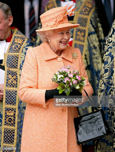 Queen Elizabeth II attends the Commonwealth Day Observance service at Westminster Abbey on March 14 2011 in London England