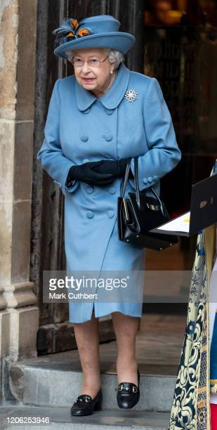 Queen Elizabeth II attends the Commonwealth Day Service 2020 at Westminster Abbey on March 9 2020 in London England