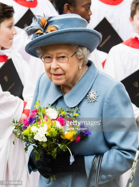Queen Elizabeth II attends the Commonwealth Day Service 2020 on March 09 2020 in London England