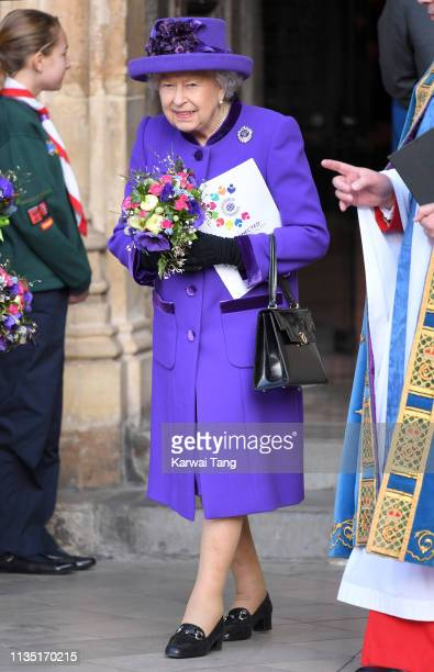 Queen Elizabeth II attends the Commonwealth Day service at Westminster Abbey on March 11 2019 in London England