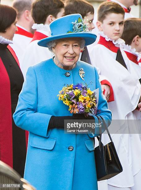 Queen Elizabeth II attends the Commonwealth Observance Day Service on March 14 2016 in London United Kingdom The service is the largest annual...