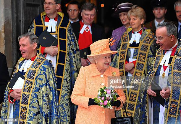 Queen Elizabeth II attends the Commonwealth Observance Service at Westminster Abbey on March 14 2011 in London England