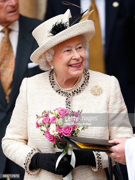 Queen Elizabeth II attends the Commonwealth Observance Service at Westminster Abbey on March 9 2015 in London England