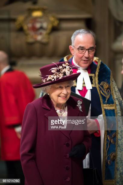 Queen Elizabeth II attends the Commonwealth Service at Westminster Abbey on March 12 2018 in London England Organised by The Royal Commonwealth...