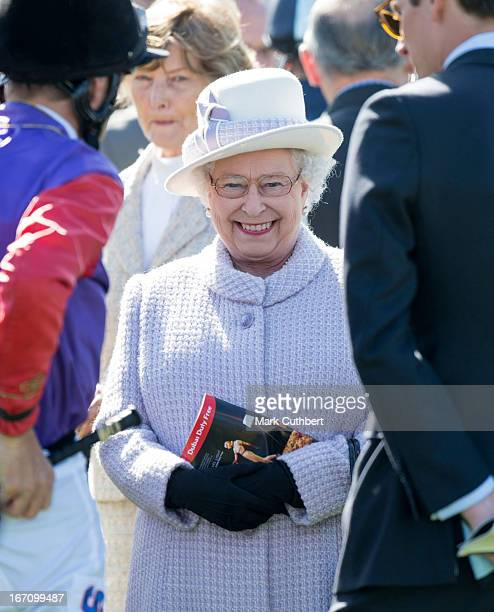 Queen Elizabeth II attends The Dubai Duty Free New to Racing Day at Newbury Racecourse on April 20, 2013 in Newbury, England.