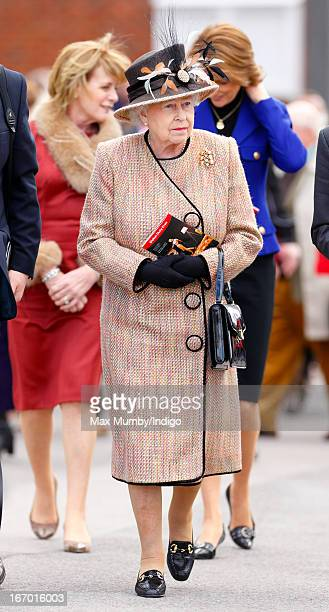 Queen Elizabeth II attends the Dubai Duty Free Raceday at Newbury Racecourse on April 19 2013 in Newbury England