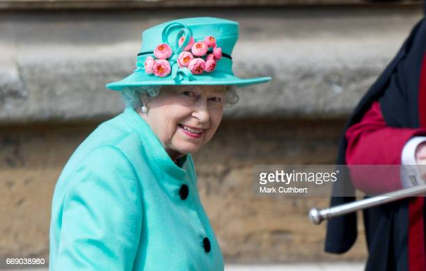 Queen Elizabeth II attends the Easter Day service at St George's Chapel on April 16 2017 in Windsor England