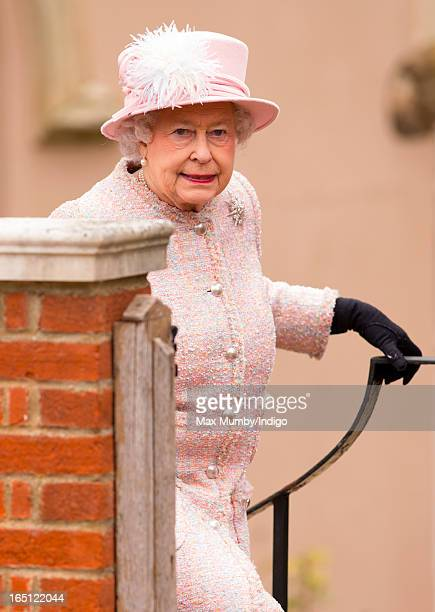 Queen Elizabeth II attends the Easter Matins Church Service at St George's Chapel Windsor Castle on March 31 2013 in Windsor England