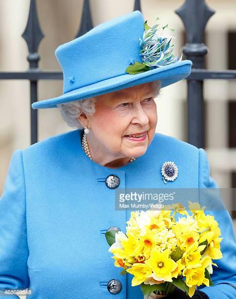 Queen Elizabeth II attends the Easter Matins service at St George's Chapel Windsor Castle on April 5 2015 in Windsor England