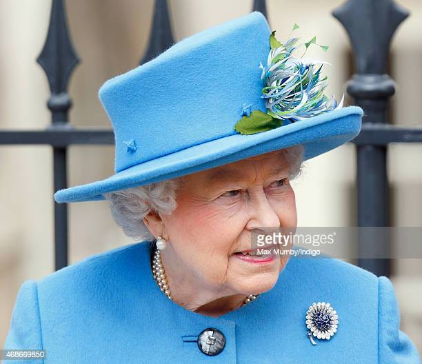 Queen Elizabeth II attends the Easter Matins service at St George's Chapel Windsor Castle on April 5 2015 in Windsor England