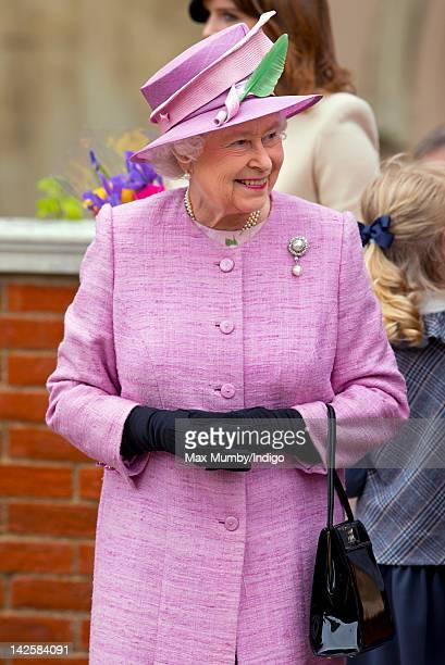 Queen Elizabeth II attends the Easter Mattins Service at Windsor Castle on April 8 2012 in Windsor England