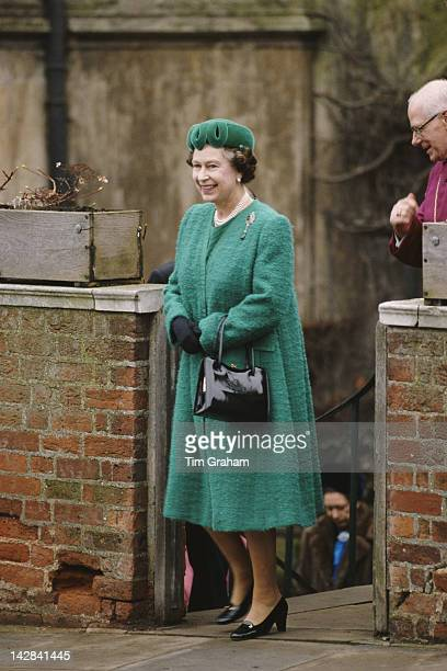 Queen Elizabeth II attends the Easter service at St George's Chapel Windsor March 1988