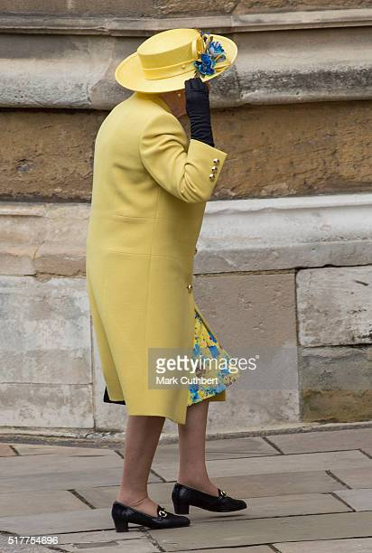 Queen Elizabeth II attends the Easter Sunday Service at St George's Chapel on March 27 2016 in Windsor England