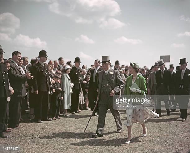 Queen Elizabeth II attends the Epsom Derby, 4th June 1954.