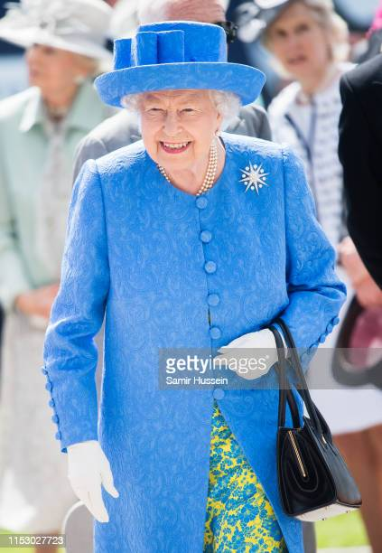 Queen Elizabeth II attends the Epsom Derby at Epsom Racecourse on June 01, 2019 in Epsom, England.