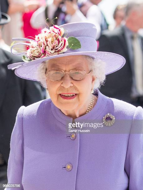 Queen Elizabeth II attends the Epsom Derby at Epsom Racecourse on June 2 2018 in Epsom England