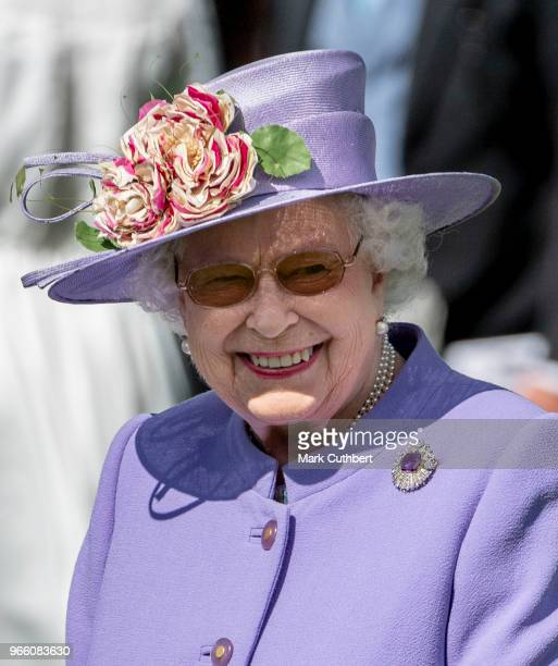 Queen Elizabeth II attends the Epsom Derby Festival at Epsom Racecourse on June 2 2018 in Epsom England