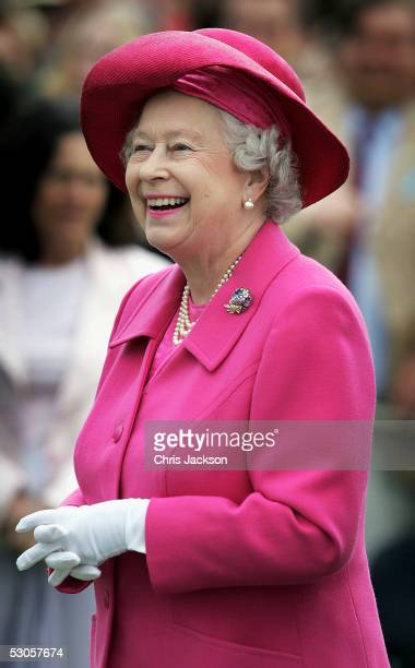 Queen Elizabeth II attends the final of the Queen's Cup at Guards Polo Club Windsor Great Park on June 12 2005 in Berkshire England