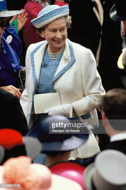 Queen Elizabeth II attends the first day of Royal Ascot on June 19 1990 in Ascot England