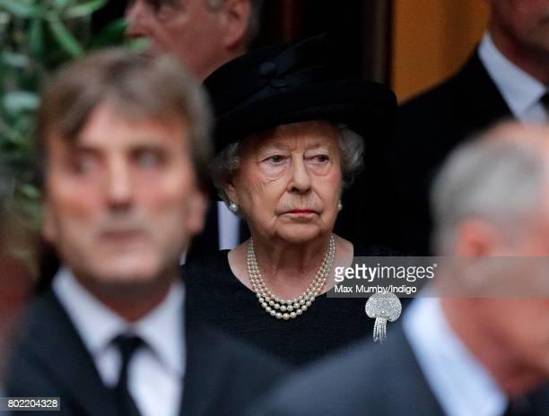 Queen Elizabeth II attends the funeral of Patricia Knatchbull Countess Mountbatten of Burma at St Paul's Church Knightsbridge on June 27 2017 in...