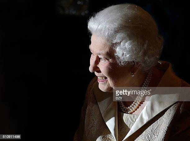 Queen Elizabeth II attends the Gold Service Scholarship awards ceremony at Claridge's Hotel London UK on the 16th February 2016