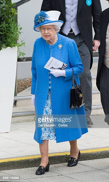 Queen Elizabeth II attends the Investec Derby Festival at Epsom Racecourse on June 4, 2016 in Epsom, England.