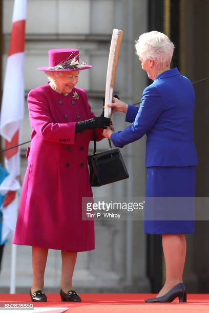Queen Elizabeth II attends the launch of The Queen's Baton Relay for the XXI Commonwealth Games at Buckingham Palace on March 13 2017 in London...