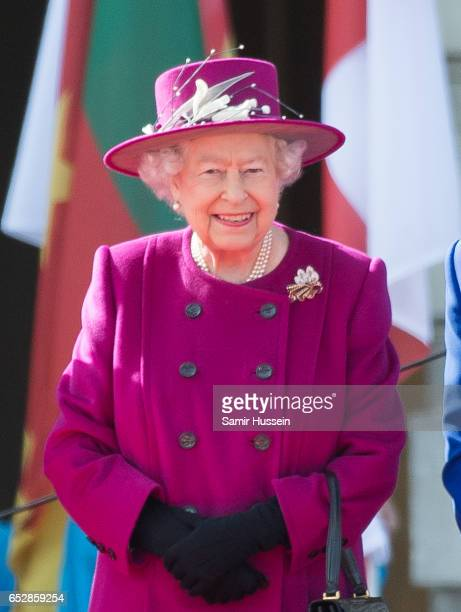 Queen Elizabeth II attends the launch of The Queen's Baton Relay for the XXI Commonwealth Games being held on the Gold Coast in 2018 at Buckingham...