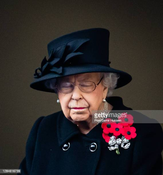 Queen Elizabeth II attends the National Service of Remembrance at The Cenotaph on November 08 2020 in London England
