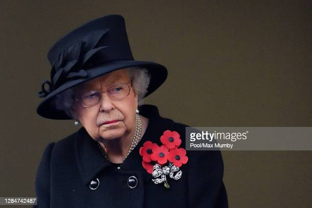 Queen Elizabeth II attends the National Service of Remembrance at The Cenotaph on November 8, 2020 in London, England. Remembrance Sunday services...