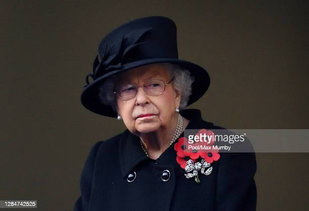 Queen Elizabeth II attends the National Service of Remembrance at The Cenotaph on November 8 2020 in London England Remembrance Sunday services were...