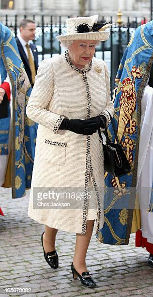 Queen Elizabeth II attends the Observance for Commonwealth Day Service At Westminster Abbey on March 9 2015 in London England
