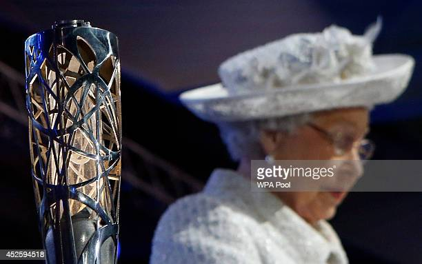 Queen Elizabeth II attends the Opening Ceremony for the Glasgow 2014 Commonwealth Games at Celtic Park on July 23 2014 in Glasgow Scotland