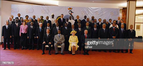 Queen Elizabeth II attends the opening ceremony of CHOGM 2007 at the Victoria hall on November 23 2007 in Kampala Uganda The Queen is in Uganda...