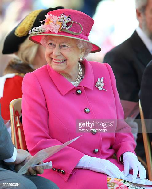 Queen Elizabeth II attends the opening of the Alexandra Gardens Bandstand on April 20 2016 in Windsor England The Queen and Duke of Edinburgh are...