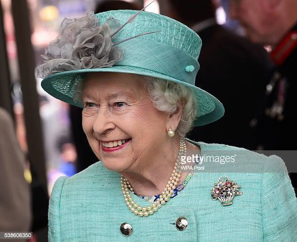 Queen Elizabeth II attends the opening of the Cardiff University Brain Research Imaging Centre on June 7 2016 in Cardiff Wales