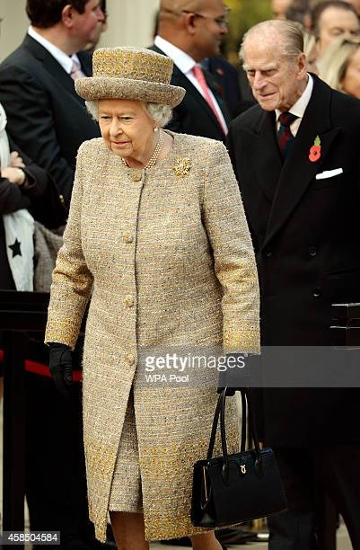 Queen Elizabeth II attends the opening of the Flanders' Fields Memorial Garden on November 6 2014 in London England