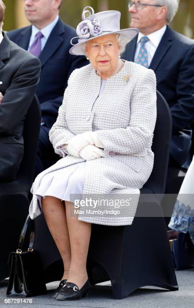 Queen Elizabeth II attends the opening of the new Centre for Elephant Care at ZSL Whipsnade Zoo on April 11 2017 in Dunstable England