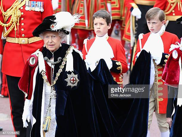 Queen Elizabeth II attends the Order of the Garter Service at St George's Chapel at Windsor Castle on June 15 2015 in Windsor England The Order of...