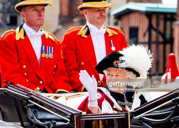 Queen Elizabeth II attends the Order of the Garter Service at St George's Chapel in Windsor Castle on June 17, 2019 in Windsor, England. The Order of...