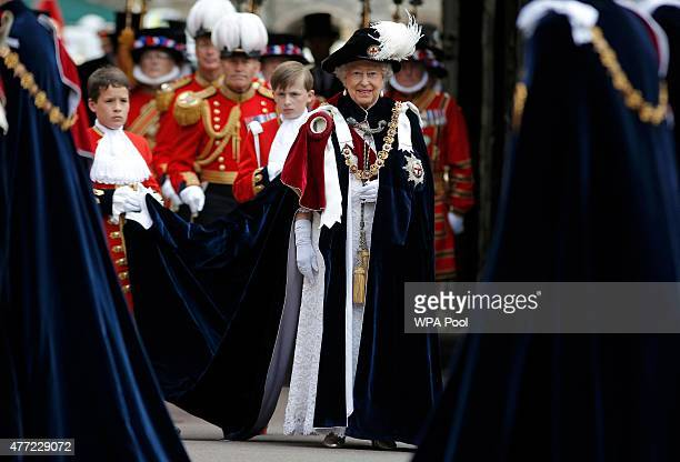 Queen Elizabeth II attends the Order of the Garter Service at St George's Chapel in Windsor Castle on June 15 2015 in Windsor England The Order of...