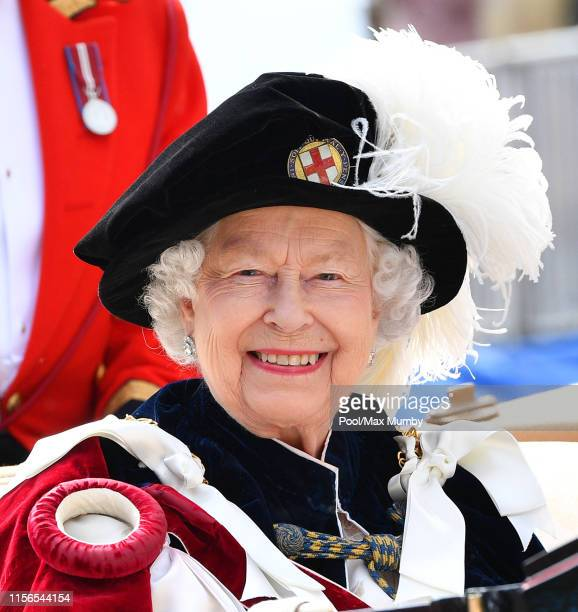 Queen Elizabeth II attends the Order of the Garter service at St George's Chapel on June 17 2019 in Windsor England The Most Noble Order of the...