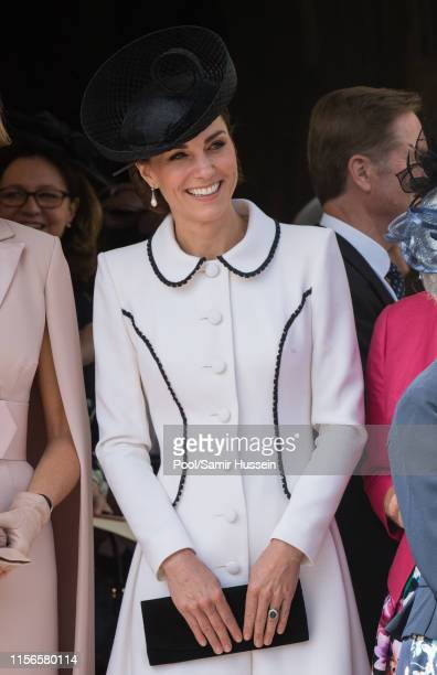 Queen Elizabeth II attends the Order of the Garter Service at St George's Chapel on June 17 2019 in Windsor England