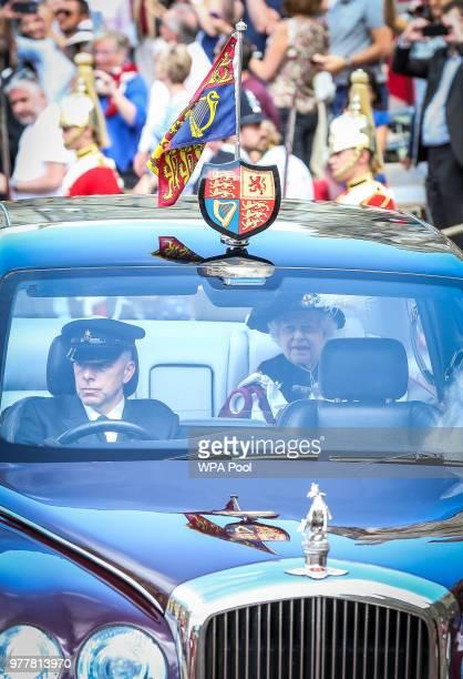 Queen Elizabeth II attends the Order of The Garter Service at Windsor Castle on June 18 2018 in Windsor England The Order of the Garter is the senior...