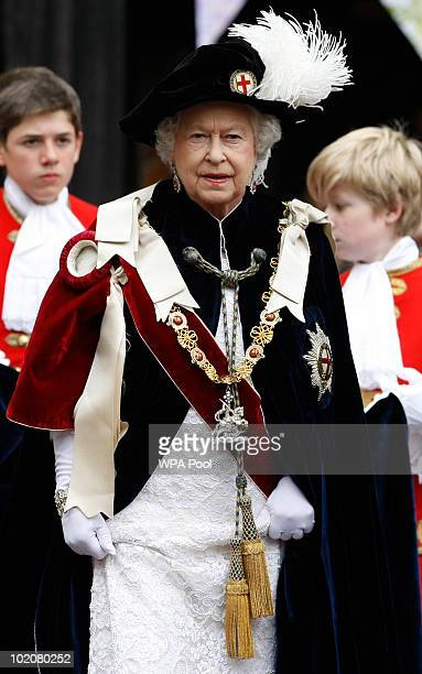 Queen Elizabeth II attends The Order of the Garter Service on June 14 2010 at St George's Chapel Windsor Castle in Windsor England The Order of the...